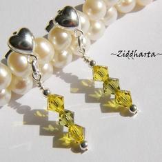 1 par Hjärte Örhängen Swarovski Crystals: Khaki & Lime