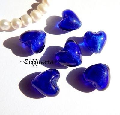 1st Hjärta ca 12mm - SF COBOLT SilverFoil LW - Handmade HEART Lampwork Beads