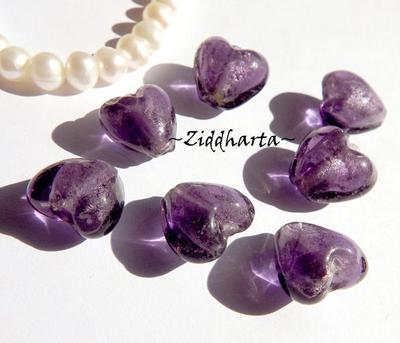 1st Hjärta ca 12mm - SF Lilac LILA  SilverFoil LW - Handmade HEART Lampwork Beads