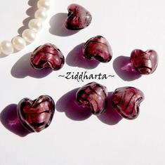 1-3-5st Hjärta ca 12mm - Dk. AMETHYST Randat - Handmade HEART Lampwork Beads Handblåsta Glaspärlor