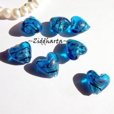1-3-5st Hjärta ca 12mm - CAPRI BLUE Randat - Handmade HEART Lampwork Beads Handblåsta Glaspärlor
