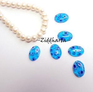 Millefiori glaspärla: 14x10 Oborrad Cabochon / Cabb Ovalt Vackra blå toner - Kornblått Turkost