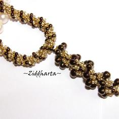 L2:42 SÅLD! BronzeGolden Necklace /Halsband Spiral Rope w beaded Bronze Spiral Pendant Miyuki Seed Beads Fringe - Handmade beaded Jewelry and Beading by Ziddharta