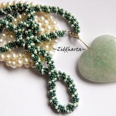 L1:12 OOAK Unikt: Big Green Adventurine Heart - Beaded Rope Swarovski Crystals: Hearts