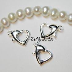 5st SP Hjärte-lås: 13x9mm Silverpläterat LOVE smyckes lås