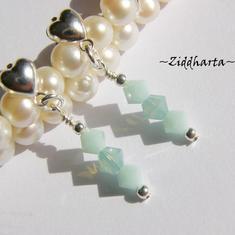 1 par Hjärte Örhängen Swarovski Crystals: PacificOpal MintAlabaster