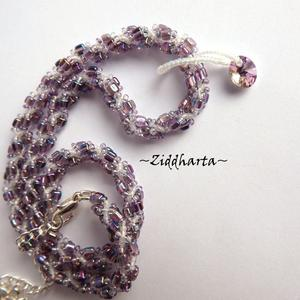 """L1:38nn Two necklaces in One """"Swarovski Violet Vitrail"""" Necklace Swirl Spiral Necklace Lilac Lavendel Necklace - Handmade Jewelry by Ziddharta"""