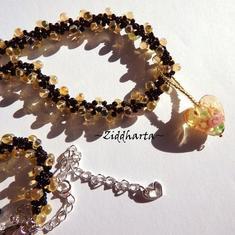 L5:144 - Jonquile AB - LampWork GoldSand HEART Pendant - Miyukis Glass Drops - Handmade Necklace / Halsband by Ziddharta