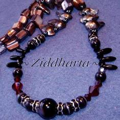 L3:89nn BlackWidow: Silver- svarta Blister Sötvattenspärlor MOP Mother of Pearl Rhinstone rondeller - Halsband / Necklace