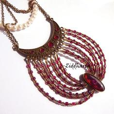 L4:133 - SteamPunk Cresent Purple - Victorian Steam Punk: Bronze Chain Purple Cerise Cherry Fuchsia Necklace / Halsband - made by Ziddharta