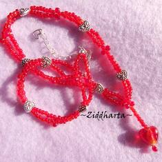 L2:73nn RED 2 strands Necklace: SilverFoil LampWork Heart - Miyuki Fringes glaspärlor - Halsband 2 strängar Made in Sweden