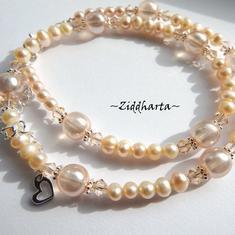 L3:93 SILKY Peach: Halsbandet för Brud Bröllop Student Fest - Sötvattenspärlor & Swarovski Crystals - handgjort av Ziddharta i Sverige