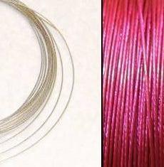 2,2m Wire 0,45mm: HotPink + 20 SP klämpärlor