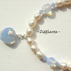 L4:113 Opalite-serien - BlueAir HEART - Vita Sötvattenspärlor Swarovski Crystals Pendant Hänge Charms Berlock Halsband Necklace H7