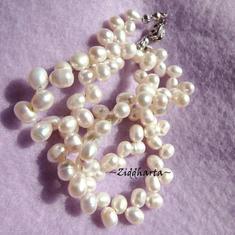 L2:53 Vit Collier Bröllop brud student - Sötvattenspärlor, pärl-lås - Necklace White Topdrilled Freshwaterpearl Wedding bride