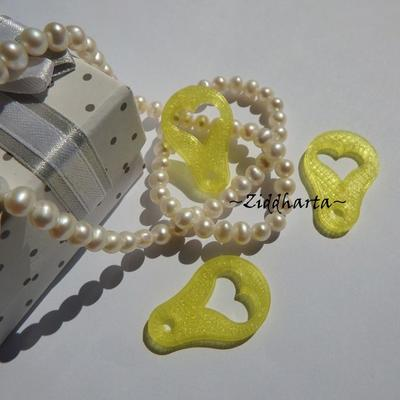 """3st  LEMON #08 - Citron-färgade gula """"glas"""": Mynt-hjärtat till kundvagnen - finaste varuvagns-poletten ever!"""
