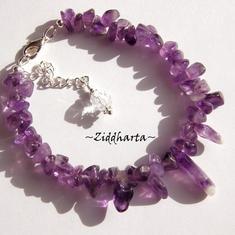 L3:109nn AMETHYST Gemstone Bracelet / Halvädelstens armband: Ametist med vackert Chevron Ametist-hänge