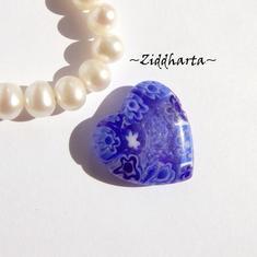 Millefiori glaspärla: Hänge - Hjärta litet Blått - Halvborrad #28