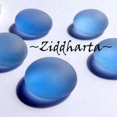 1st Glas-cabb: Frost BLUE Blå - Cabochoner av glas för dekor, pyssel och pärlsömnad
