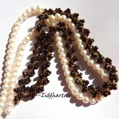 L5:145nn SteamPunk - Bronze ´n Gold - Helix DNA Spiral Glass Drops Necklace / Halsband: Miyuki Seed Beads - Handmade Jewelry by Ziddharta