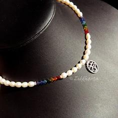 L2:74nn YOGA Chakran Rainbow PRIDE Swarovski Crystals - High Quality White Freshwaterpearls  - Handmade Jewelry and Beadings by Ziddharta Made in Sweden