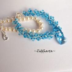 """L1:35 Two BRACELETs in One: Aqua """"Turquoise Blue Sarovski Heart"""" Bracelet Sky Blue Bracelet Swarovski Heart Bracelet - Handmade Jewelry by Ziddharta"""