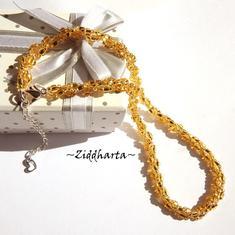 L5:141 GOLDEN Gulden Helix DNA Swirl Necklace / Halsband: Miyuki & Jablonex Seed Beads - Sydda glaspärlor Smyckes-rep - Handsewn Beaded Rope by Ziddharta