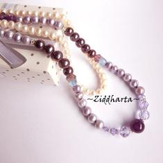 L5:153nn RARE -  Alexandrite - Lavendel Lilac Violet Freshwater Pearls Swarovski Crystals Purple Necklace Amethyst Gem Stone Bead - Necklace made by Ziddharta