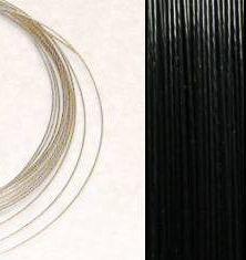 2,2m Wire 0,60mm: BLACK / Svart + 20 SP klämpärlor