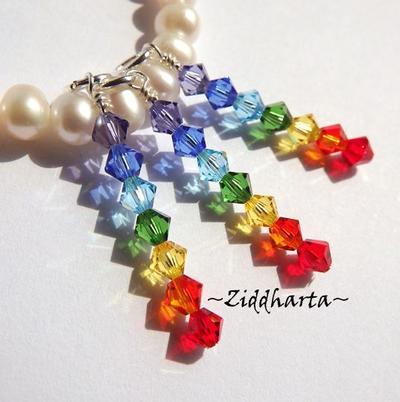 1st Hänge /berlock: Rainbow / Pride / Chakras Yoga - Äkta Swarovski - tillverkat för hand - perfekt till smyckestillverkning