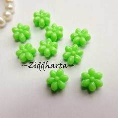 20st NEON Grön FLOWER Opaka Pärlor Dubbelsidig Plast- pärla med genomgående hål
