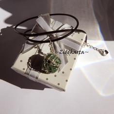 African Gem Stone Necklace Green Necklace Silver Plated Wired Wraps Halskette Kragen Halsband Gem Necklace - Jewelry Necklaces Handmade by Ziddharta
