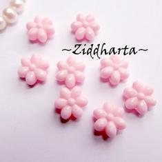 20st FLOWER Rosa / PINK Opaka Pärlor Dubbelsidig Plast- pärla med genomgående hål
