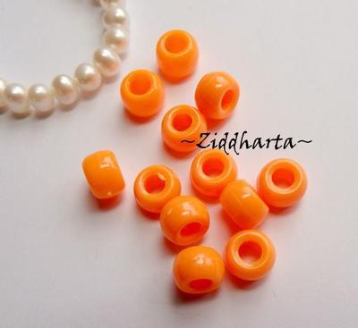20st NeonOrange Opaka PONY pärla 9x6mm - Drum Beads XL: PlastPärlor med stora hål