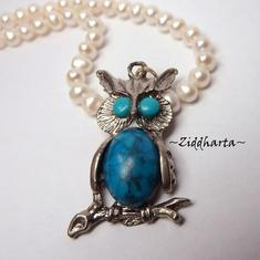 Vintage Owl /Uggle Hänge Turkos AS