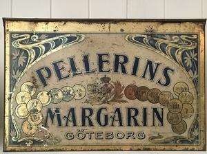 ANTIK PLÅTBURK FRÅN PELLERINS MARGARIN