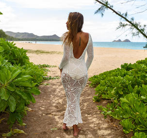 Handmade crochet open back wedding dress WHITE