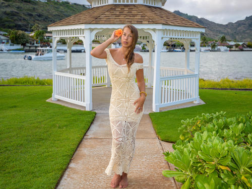 Handmade crochet wedding dress BEIGE