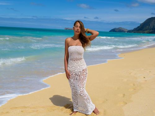 Handmade crochet strapless wedding dress WHITE