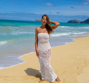 Handmade crochet strapless wedding dress WHITE