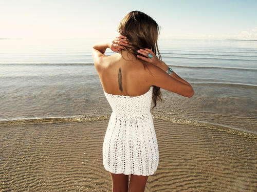 Handmade crochet strapless dress WHITE