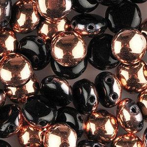 Candy™, 2-hålig cabochon, 8 mm. Jet Capri Gold, 23980/27101. 20 st.