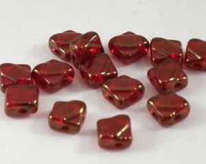 Silky beads, tjeckisk två hålig pärla, Red Luster. 20-pack.