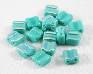 Bone beads, tjeckisk två hålig pärla, Jade AB. 20-pack.