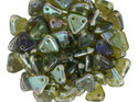 Czech Mate Triangle Bead, Aquamarine Celsian. 5 gram.