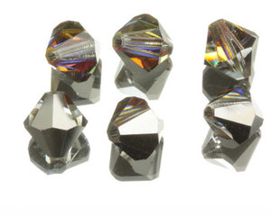 Machine cut bikon från Preciosa, 8 mm. Crystal Vulcano. 4-pack.