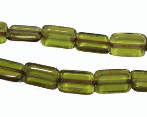 Olivgrön rektangulär pärla med guldkanter, 12*9 mm. En sträng.