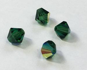 Machine cut bikon från Preciosa, 8 mm. Green Turmaline AB. 4-pack.