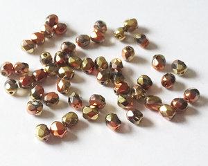Fasetterade firepolish, Crystal California Gold Rush, 4 mm. 50 st