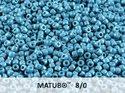 Matubo 8/0, Chalk White Blue Luster. 10 gram.